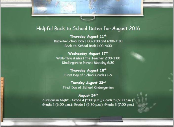 back to school dates 2016